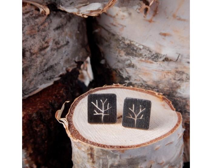Kolczyki sztyfty kwadrat Drzewa