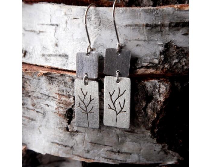 Prostokątne podwójne kolczyki wiszące - Drzewa