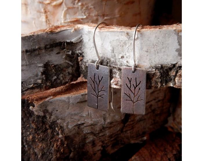 Prostokątne kolczyki wiszące - Drzewa