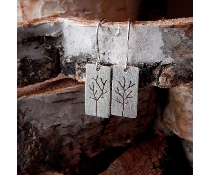 Kolczyki wiszące prostokąt Drzewa