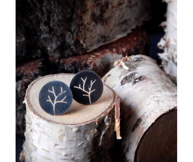 Okrągłe kolczyki sztyfty - Drzewa
