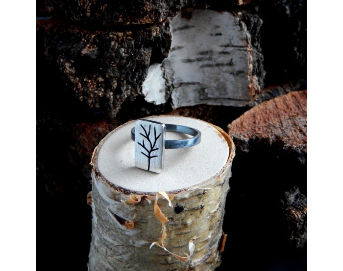Pierścionek prostokąt - Drzewa